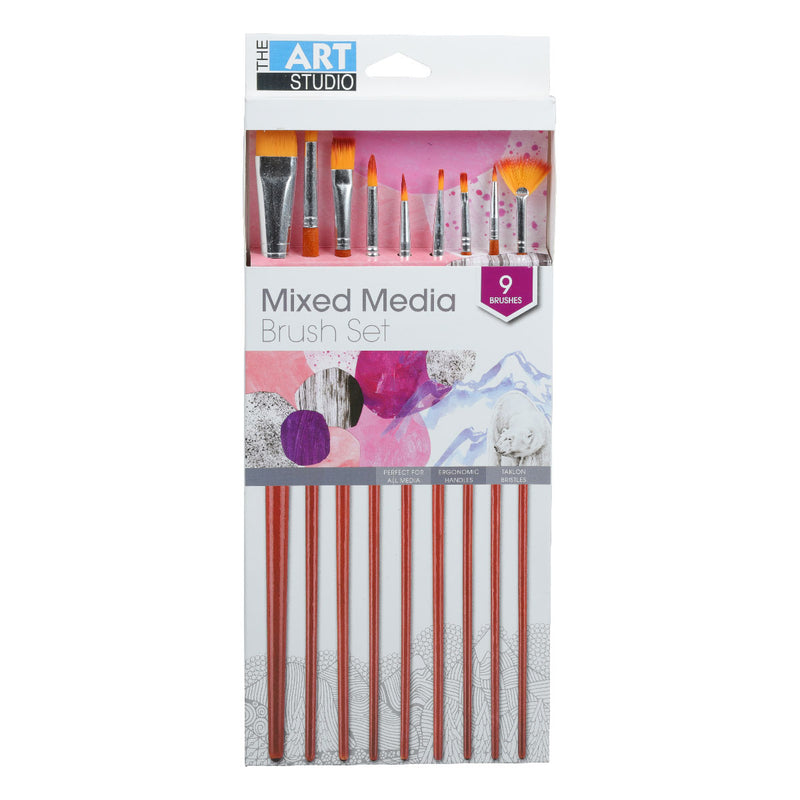 Lavender The Art Studio Mixed Media Synthetic Brush Set 9 Pieces Brushes