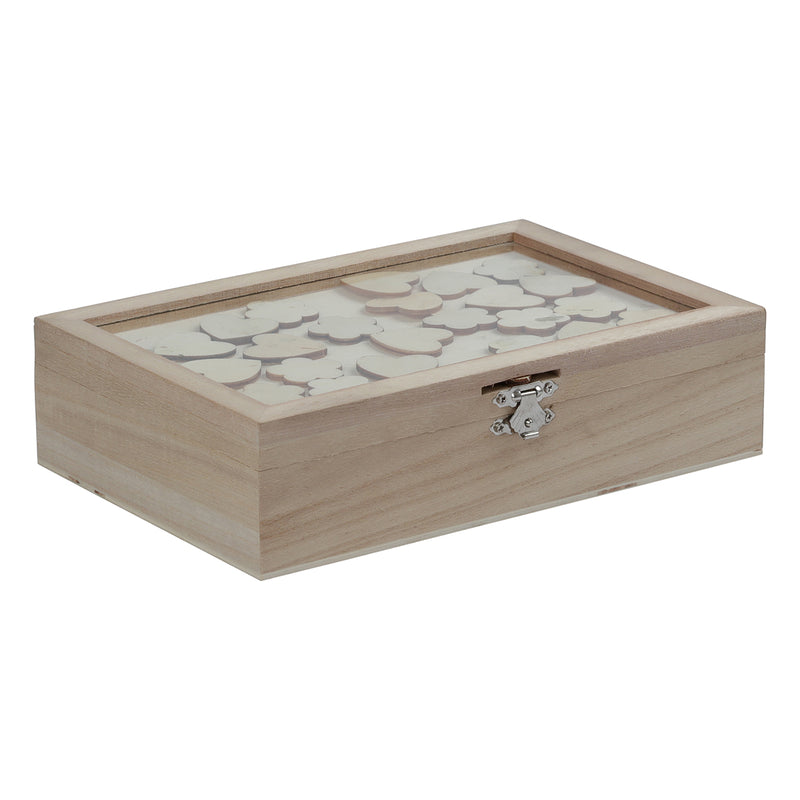 Urban Crafter Paulowina Box with Heart Tokens 23 x 15 x 6cm