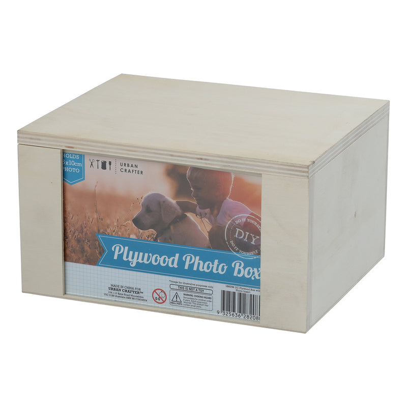 Urban Crafter Plywood Box with Photo Insert 19.5 x 16 x 11cm