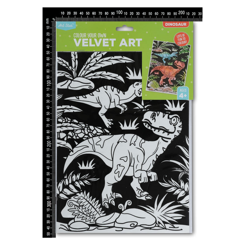 Black Art Star Colour Your Own Velvet Art Dinosaurs Kids Kits