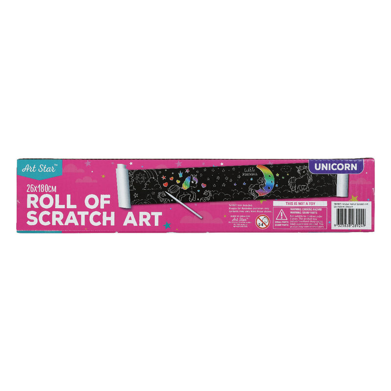 Violet Red Art Star Unicorn Roll of Scratch Art 26 x 180cm Kids Kits