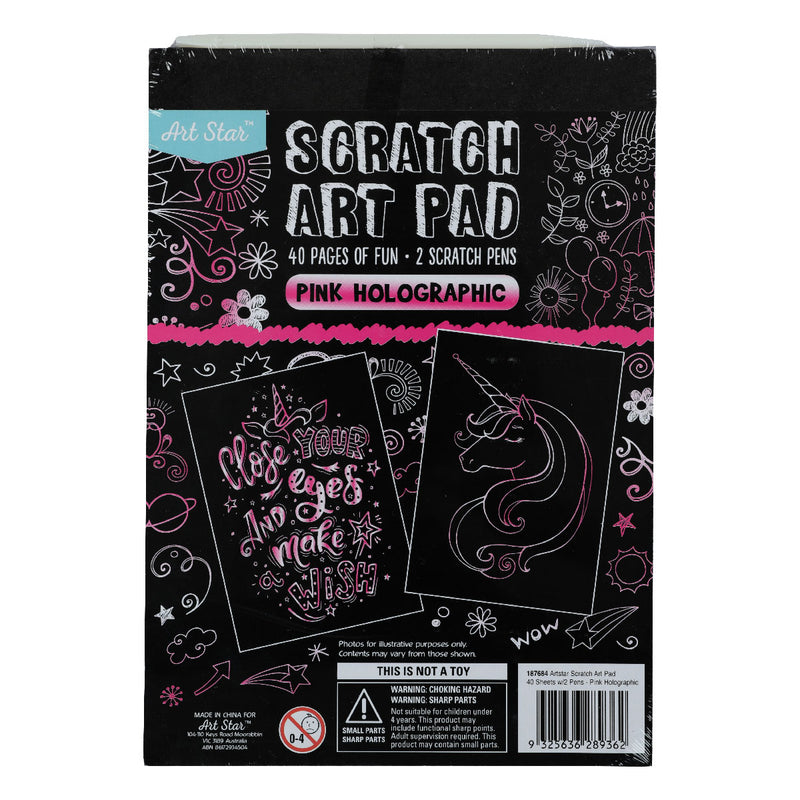 Black Art Star A5 Scratch Art Pad Pink Holographic 40 Sheets Kids Kits
