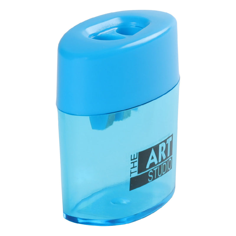 Dodger Blue The Art Studio 2 Hole Oval Pencil Sharpener With Catcher Art Accessories