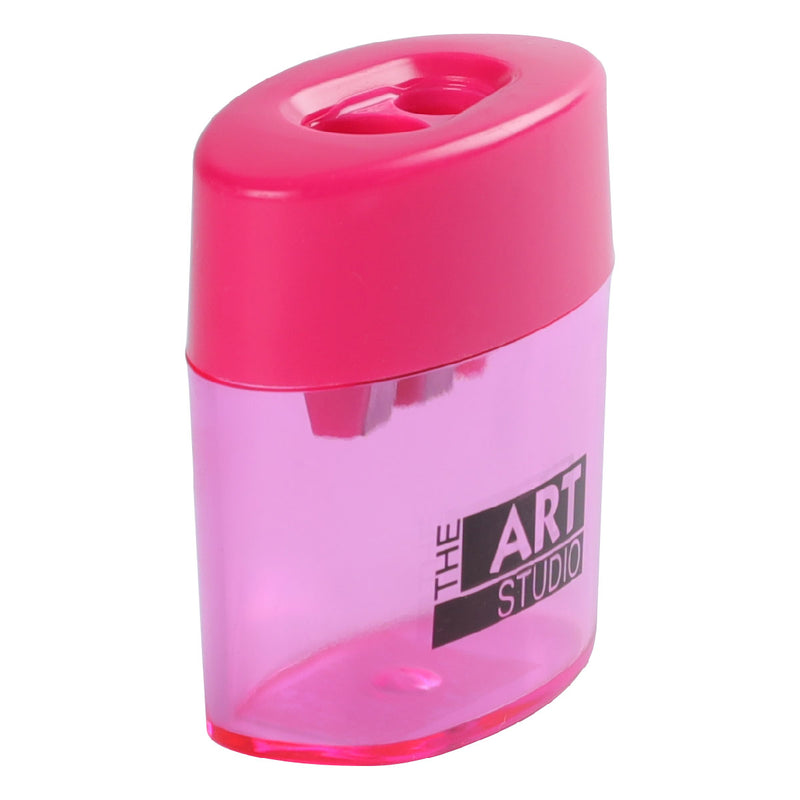 Plum The Art Studio 2 Hole Oval Pencil Sharpener With Catcher Art Accessories