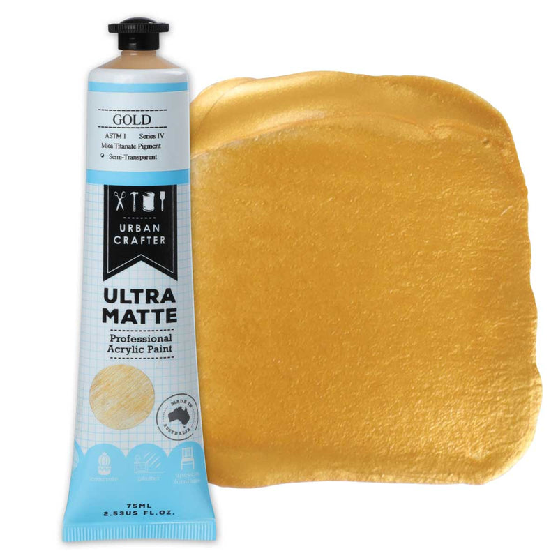 Urban Crafter Ultra Matte Acrylic Paint 75ml Gold S4 ASTM1 Semi-Transparent