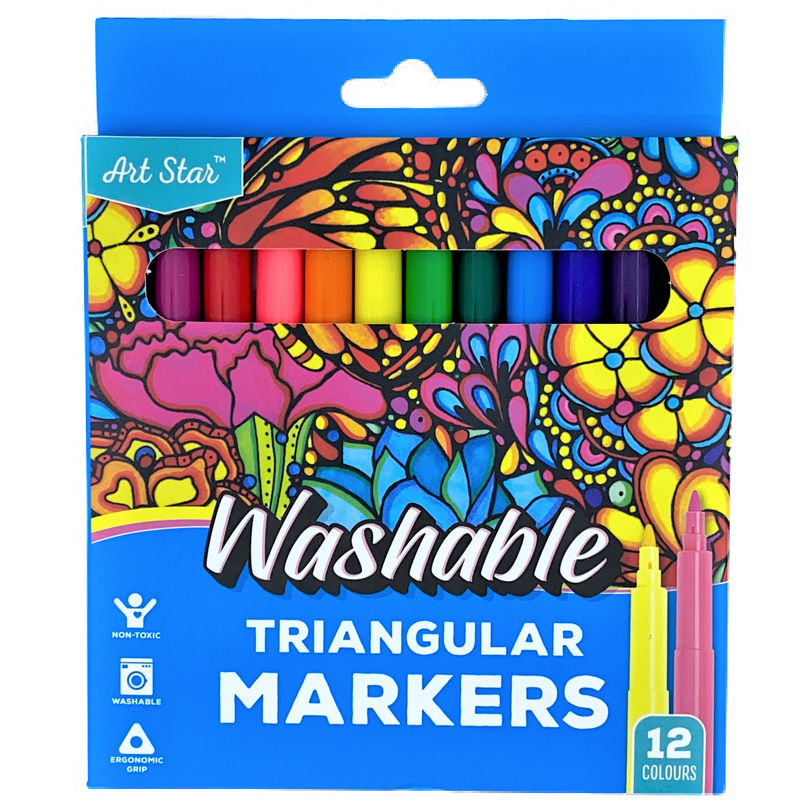 Yellow Art Star Washable Triangular Markers Assorted Colours 12 Pieces Kids Drawing