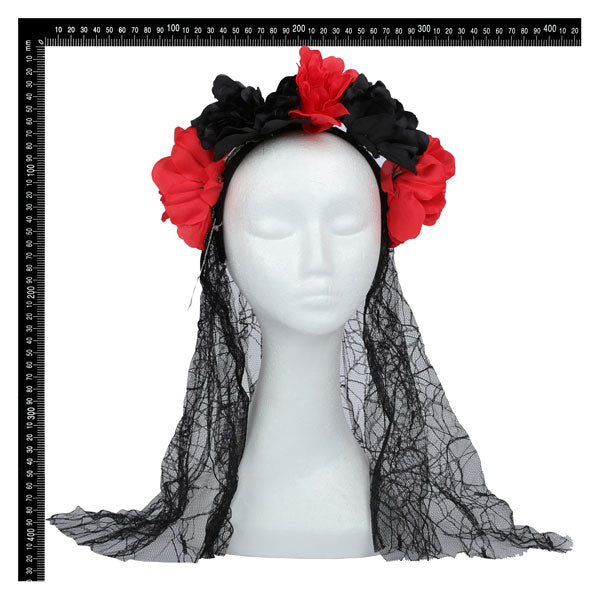 Day of the Dead Flower Headband and Veil 66 x 22.5cm