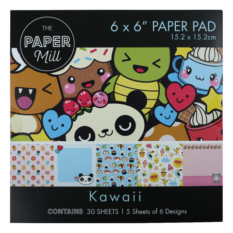 The Paper Mill 6 x 6 Inch Paper Pad 30 Sheets Kawaii