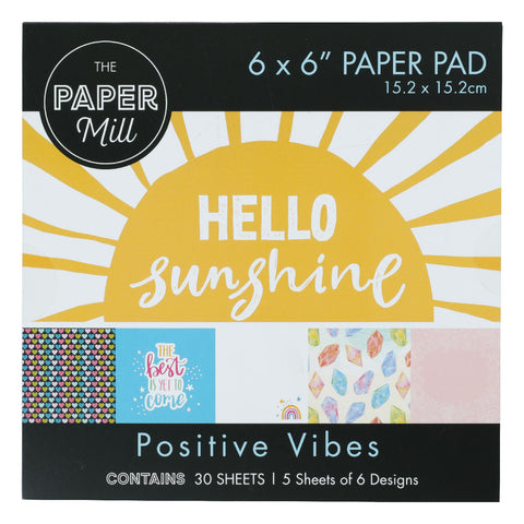 The Paper Mill 6 x 6 Inch Paper Pad 30 Sheets Positive Vibes