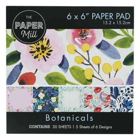 The Paper Mill 6 x 6 Inch Paper Pad 30 Sheets Botanicals