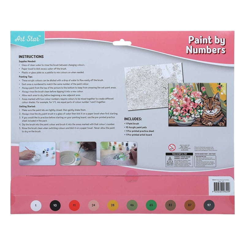 Light Gray Art Star Paint By Numbers Cat Large Kids Kits