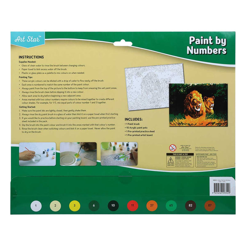 Tan Art Star Paint By Numbers Lions Large Kids Kits