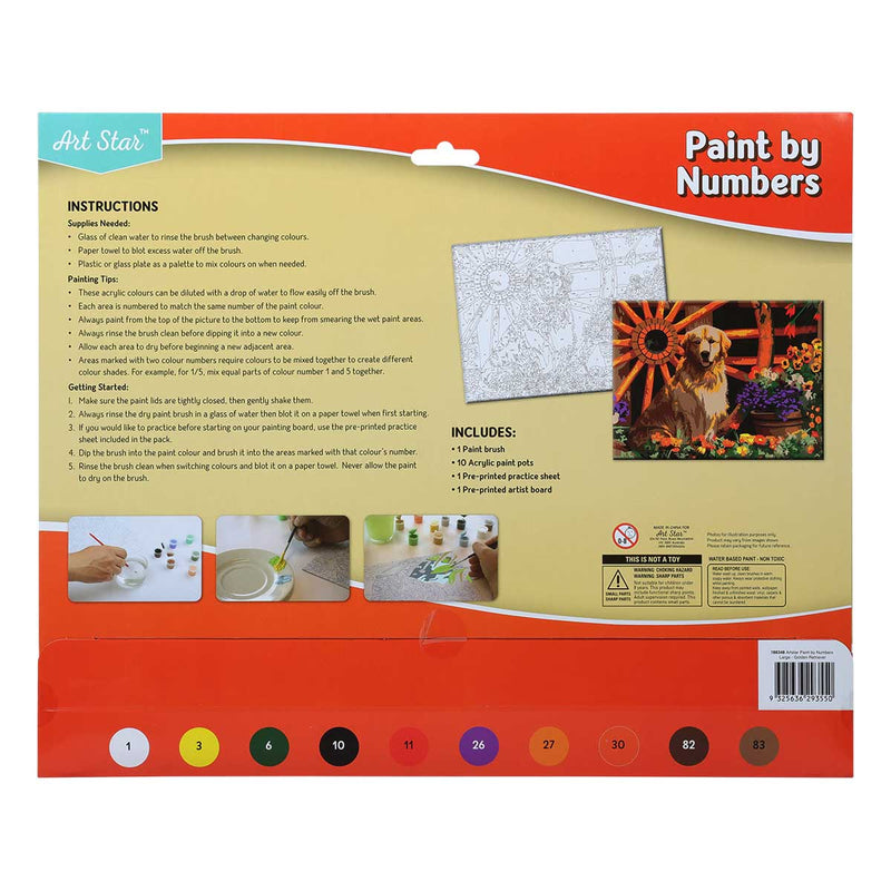 Tan Art Star Paint By Numbers Golden Retriever Large Kids Kits