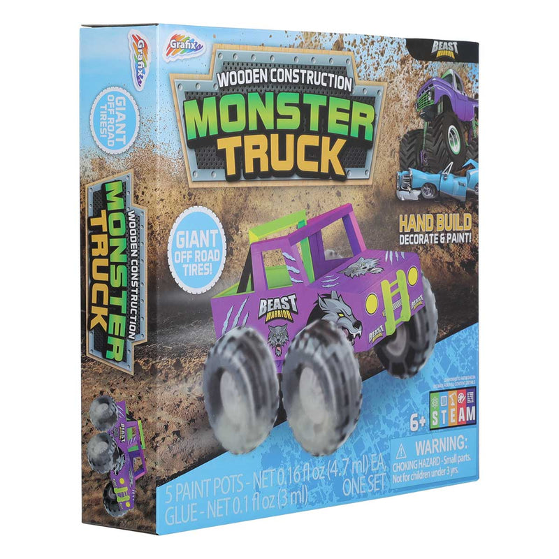 Light Slate Gray Grafix Wooden Monster Truck Kids Kits