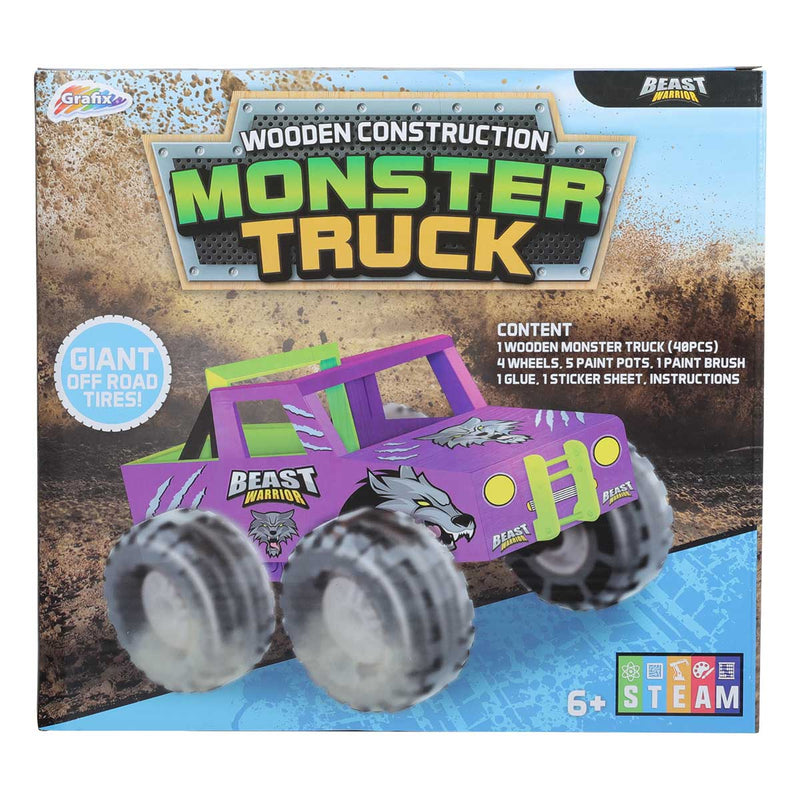 Medium Purple Grafix Wooden Monster Truck Kids Kits