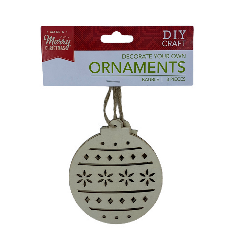 Dark Gray Make A Merry Christmas  Plywood Laser Bauble Ornament 3pk Christmas