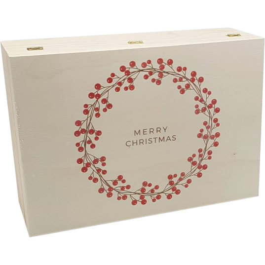Wooden Christmas Box With Printed Wreath Image