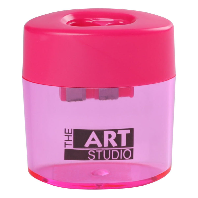 Violet Red The Art Studio 2 Hole Oval Pencil Sharpener With Catcher Art Accessories
