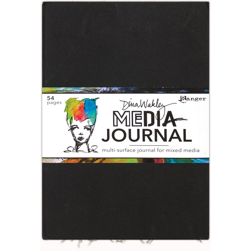 White Smoke Dina Wakley Media Journal 25cmx36.8cm-Black Paper Craft
