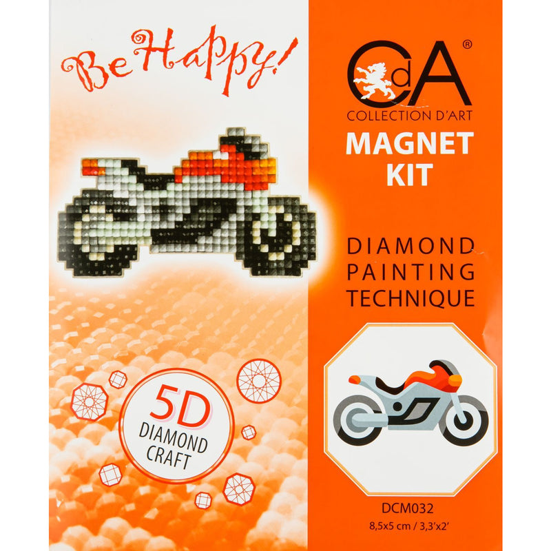 Sandy Brown Be Happy Motorcycle Diamond Painting  Mosaic Magnet Kit - 8.5cm x 5cm - Collection  D'Art Diamond Painting Kit