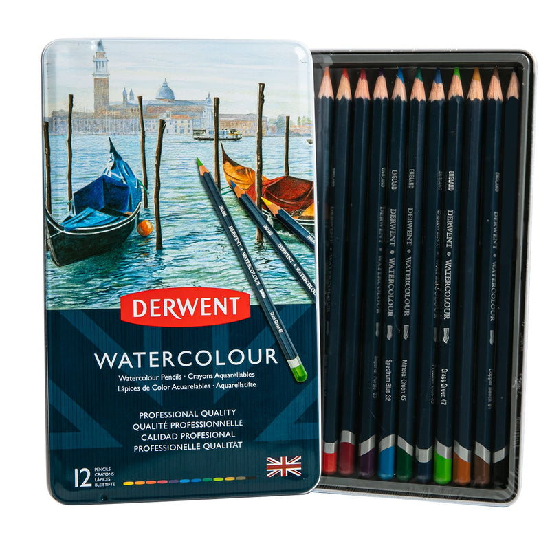 Black Derwent Watercolour Pencils Set Of 12 Pencils