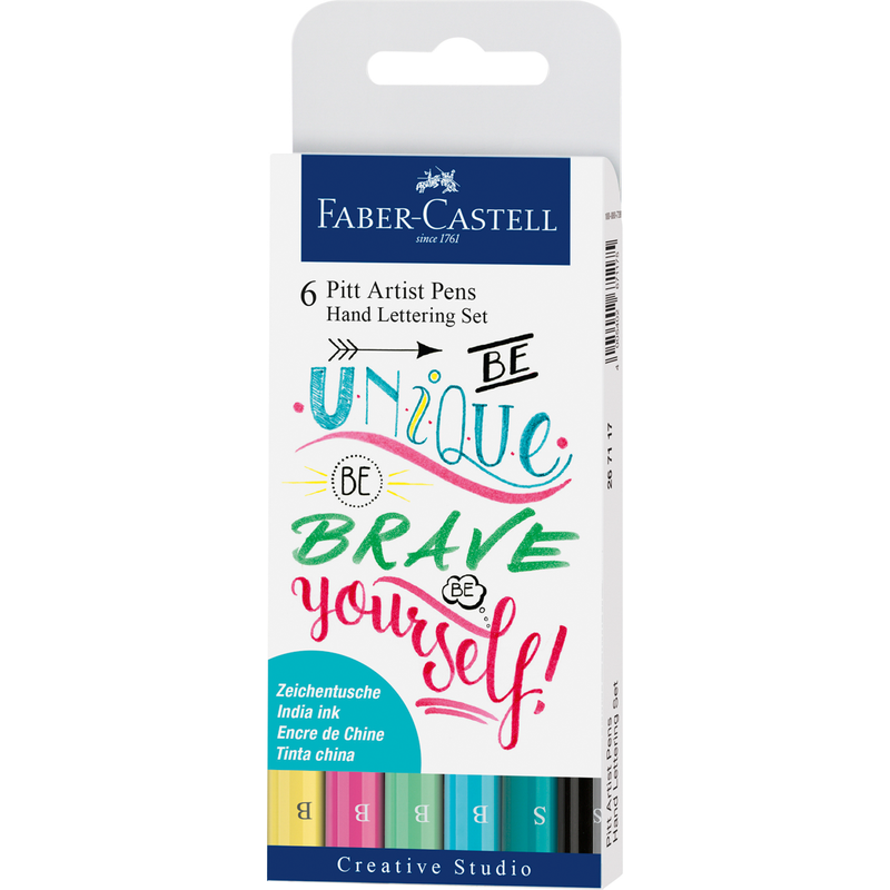 White Smoke Faber Castell Pitt Artist Pens  Hand Lettering  Pastel Assorted Nibs – Pack of 6 Pencils