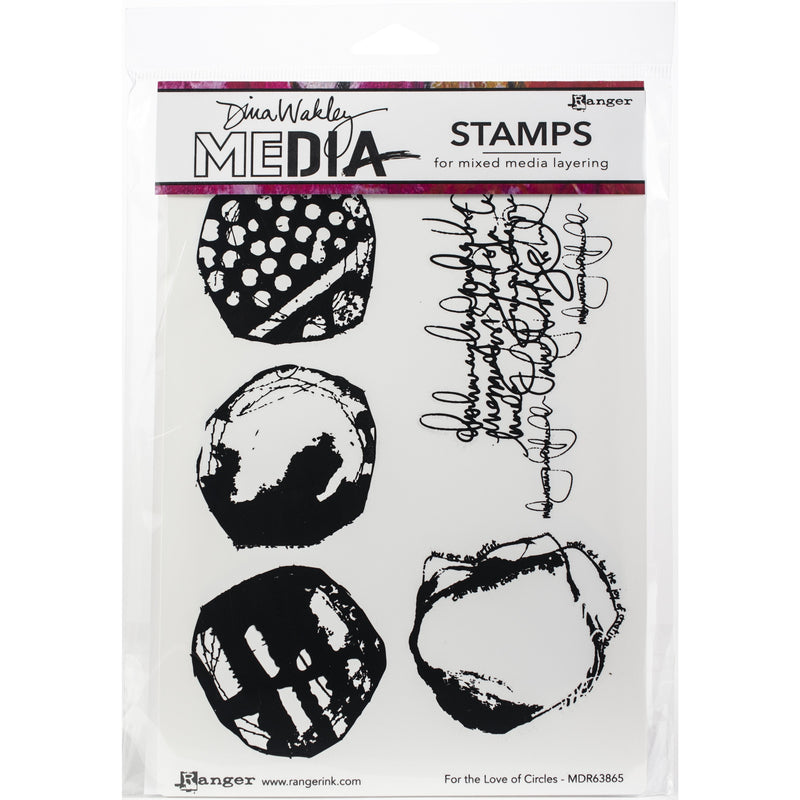 Lavender Dina Wakley Media Cling Stamps 15x22.5cm-For The Love Of Circles Paper Craft