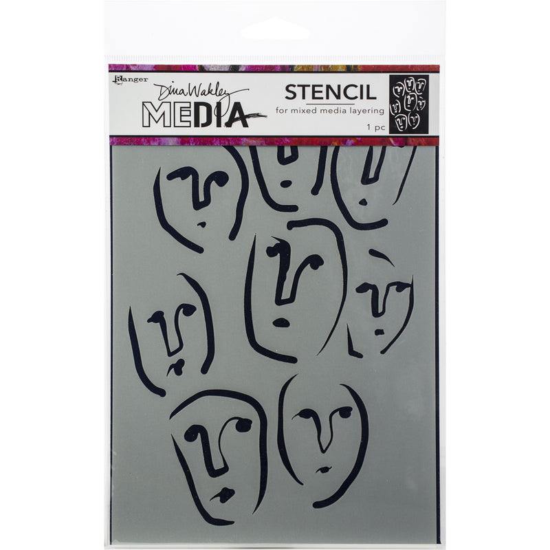 Light Slate Gray Dina Wakley Media Stencils 15x22.5cm-Circle Faces Paper Craft