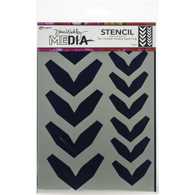 Black Dina Wakley Media Stencils 22.5x15cm-Large Fractured Chevrons Paper Craft