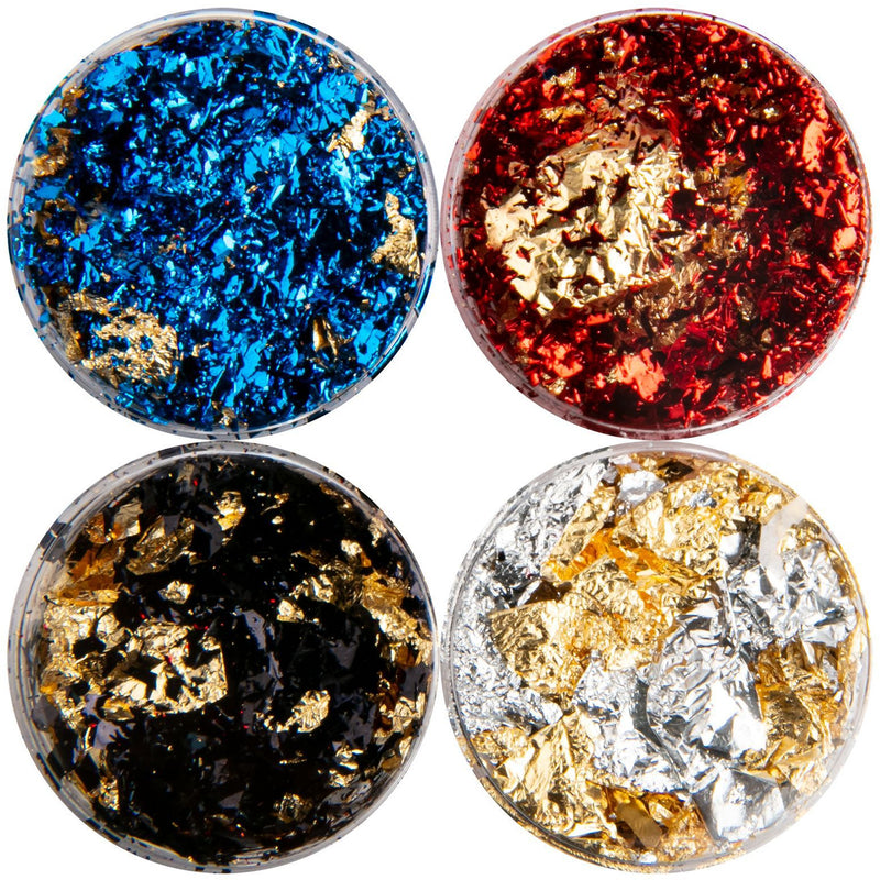 Dark Slate Blue American Crafts Color Pour Resin Mix-Ins 4/Pkg - Reversible Foil Flakes Resin