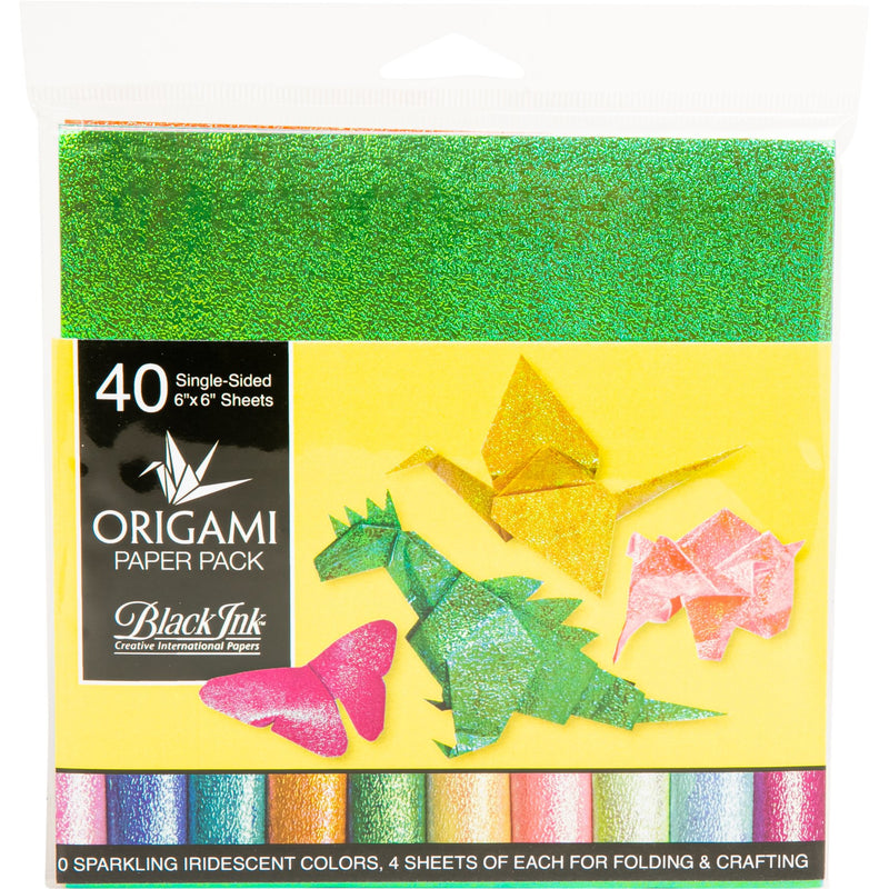 Lime Green Origami Paper Pack - Iridescent 40 Sheets Origami