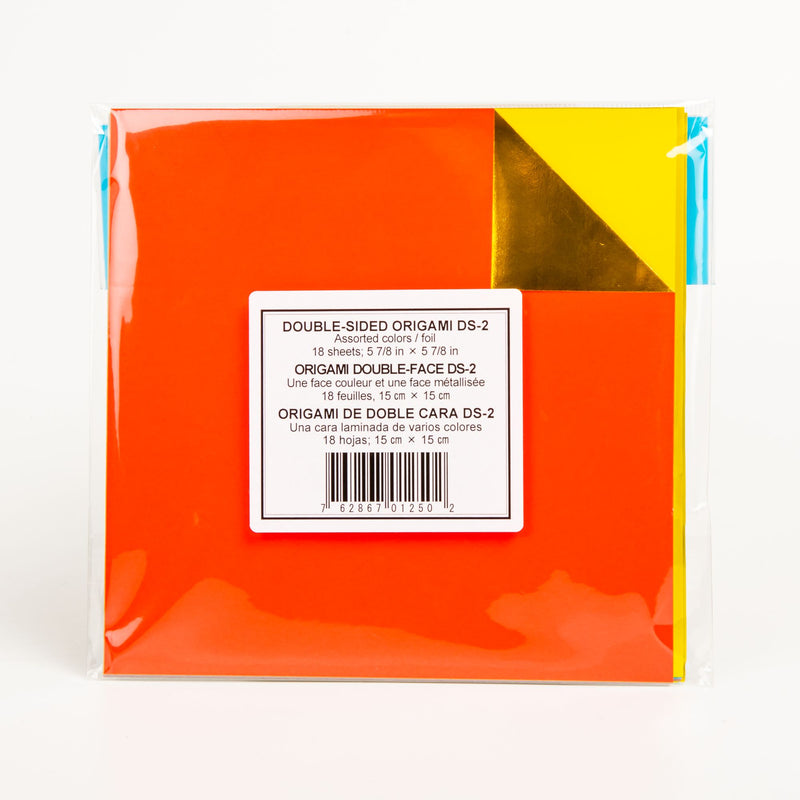 Orange Red Origami Paper 15cmX15cm 18/Pkg - Assorted Foil/Solid Double-Sided Origami