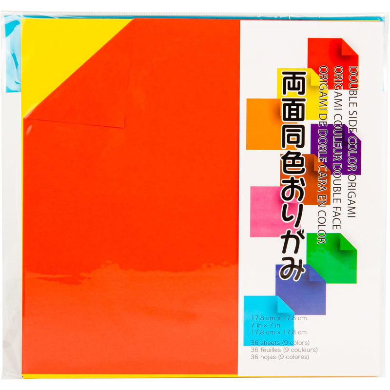 Orange Red Origami Paper 17.5cmX17.5cm 36/Pkg - Assorted Double Sided Colours Origami