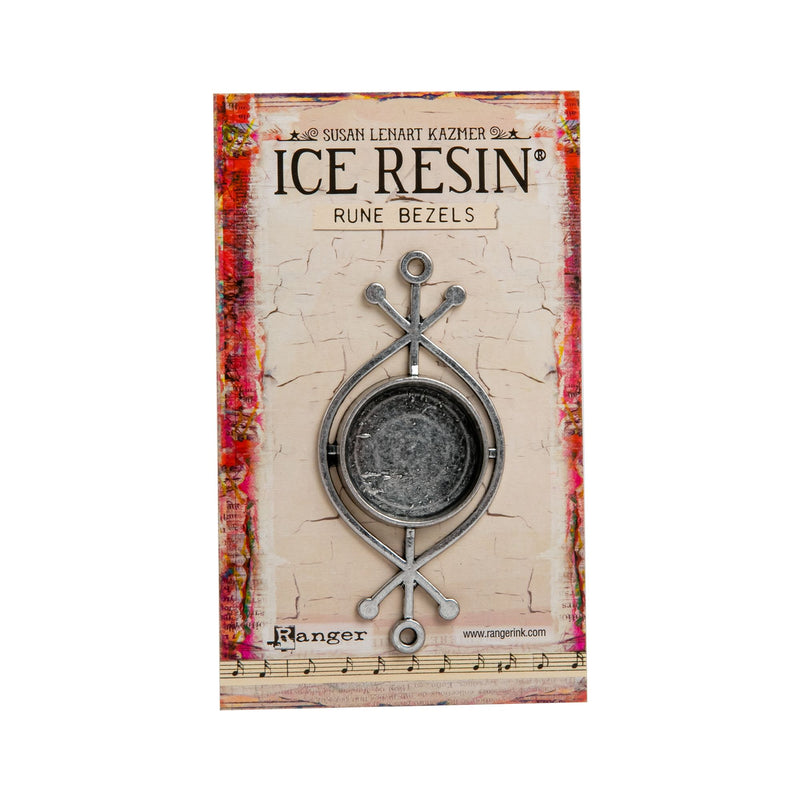 Gray Ice Resin Rune Bezel Round - Antique Silver Resin