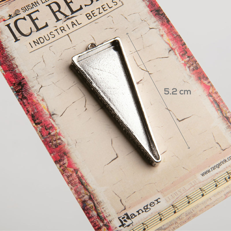 White Smoke Ice Resin Industrial Bezel Collection Sterling Triangle-Medium Resin
