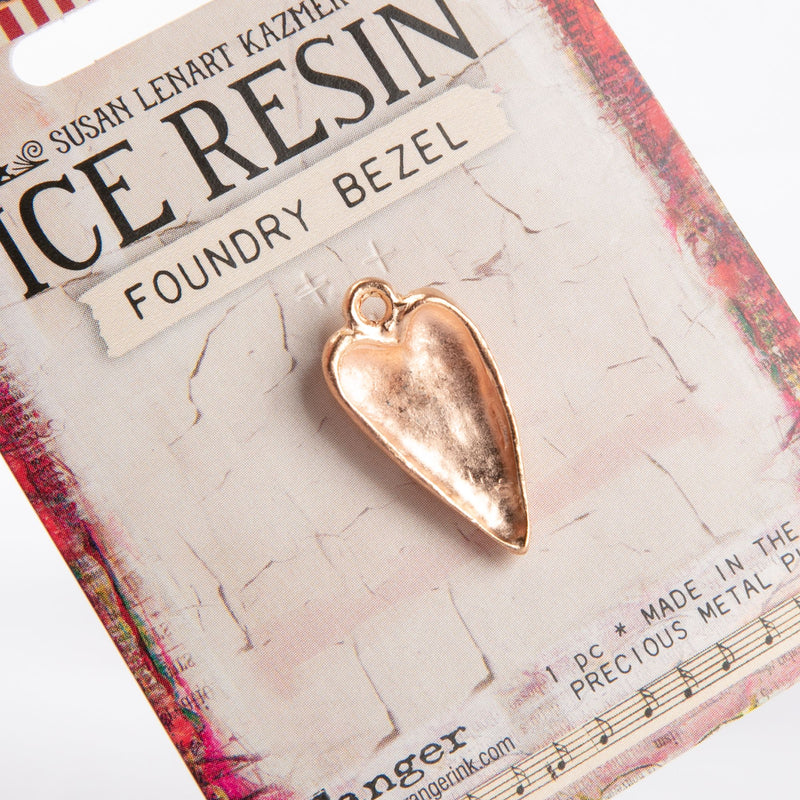 Light Gray Ice Resin Foundry Bezel Collection Rose Gold Hammered Heart Resin