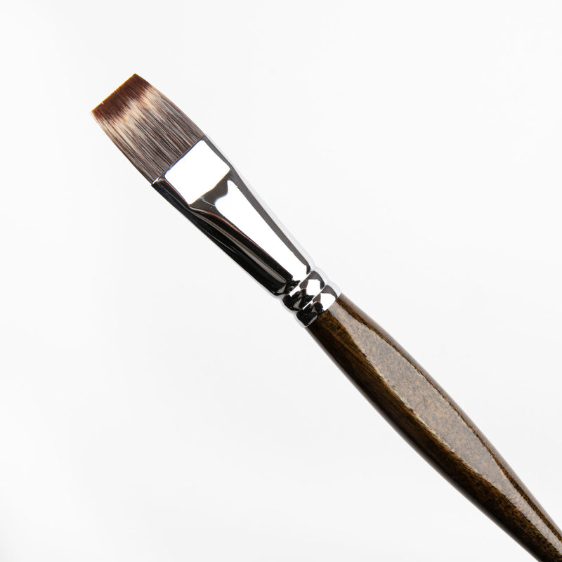 Black Borciani Bonazzi Professional Artist Brush UNICO Series 801 SIZE 20 Mongoose Synthetic Short Handle Flat Made in Italy Brushes