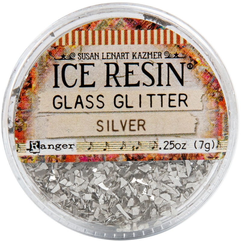 Gray Ice Enamels German Glass Glitter - 7 grams Silver Resin