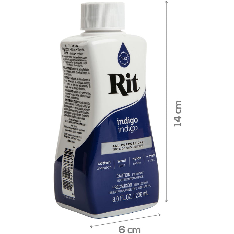 Midnight Blue Rit Dye Liquid 236ml - Indigo Fabric Paints and Dyes