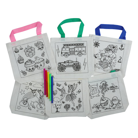 Color In Tote Bag- Large With 5 Markers