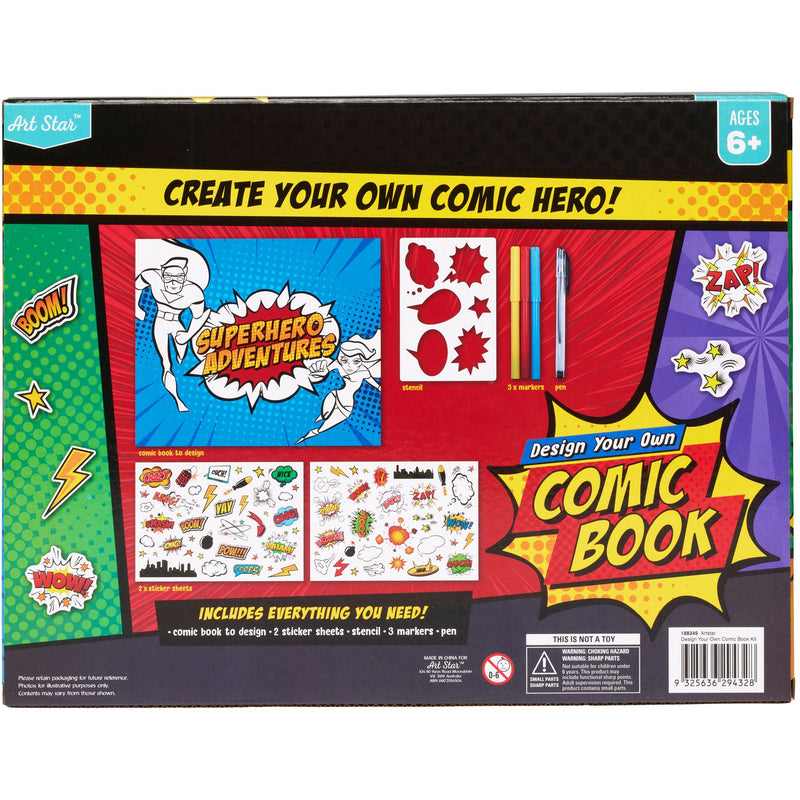 Firebrick Art Star Design Your Own Comic Book Kit Kids Kits