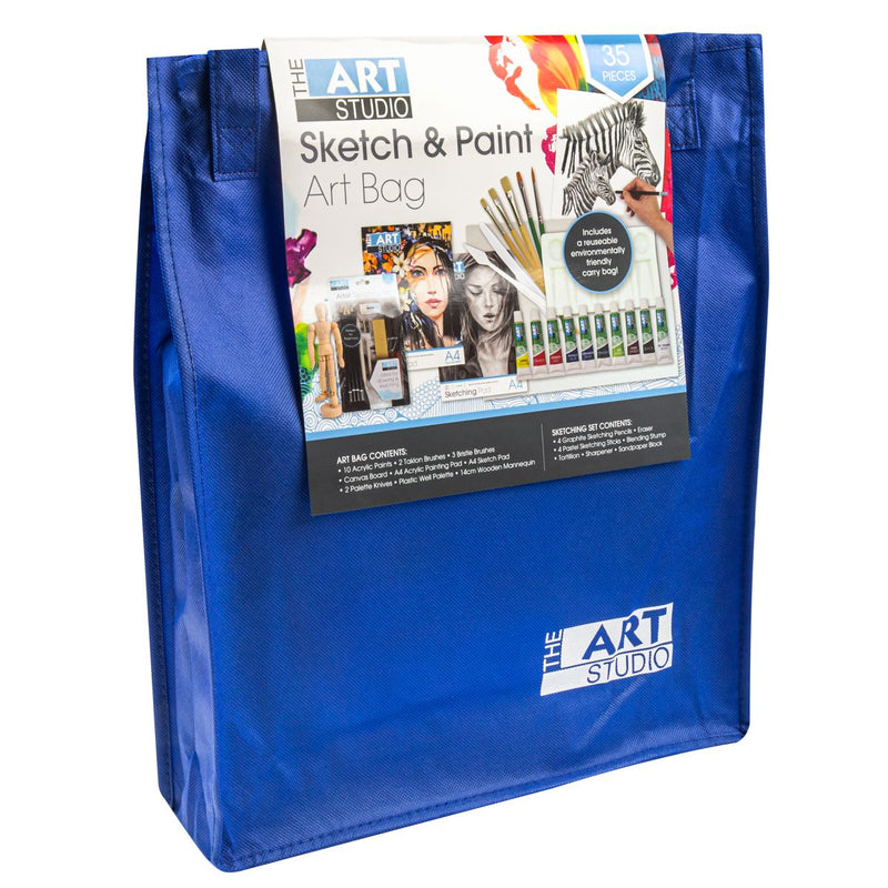 Dark Slate Blue The Art Studio Ultimate Sketch & Paint Art Bag 35 Pieces Art Accessories