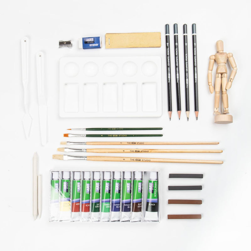Wheat The Art Studio Ultimate Sketch & Paint Art Bag 35 Pieces Art Accessories