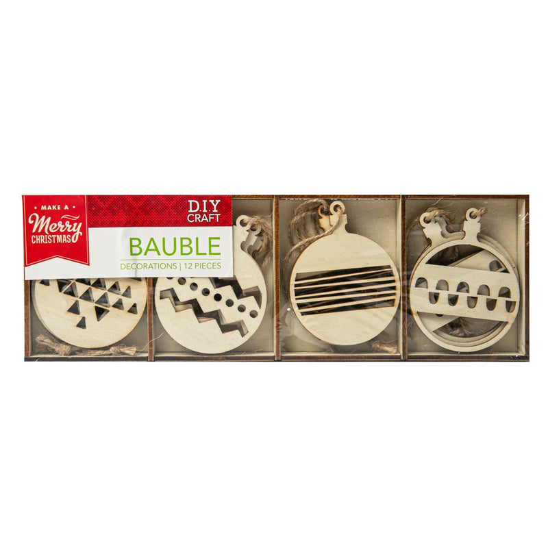 Gray Make A Merry Christmas  Plywood Bauble Ornaments 12Pk Christmas