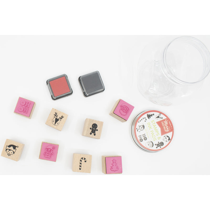 Light Coral Make A Merry Christmas Wooden Stamp and Ink Pad Jar 10 Pieces Christmas