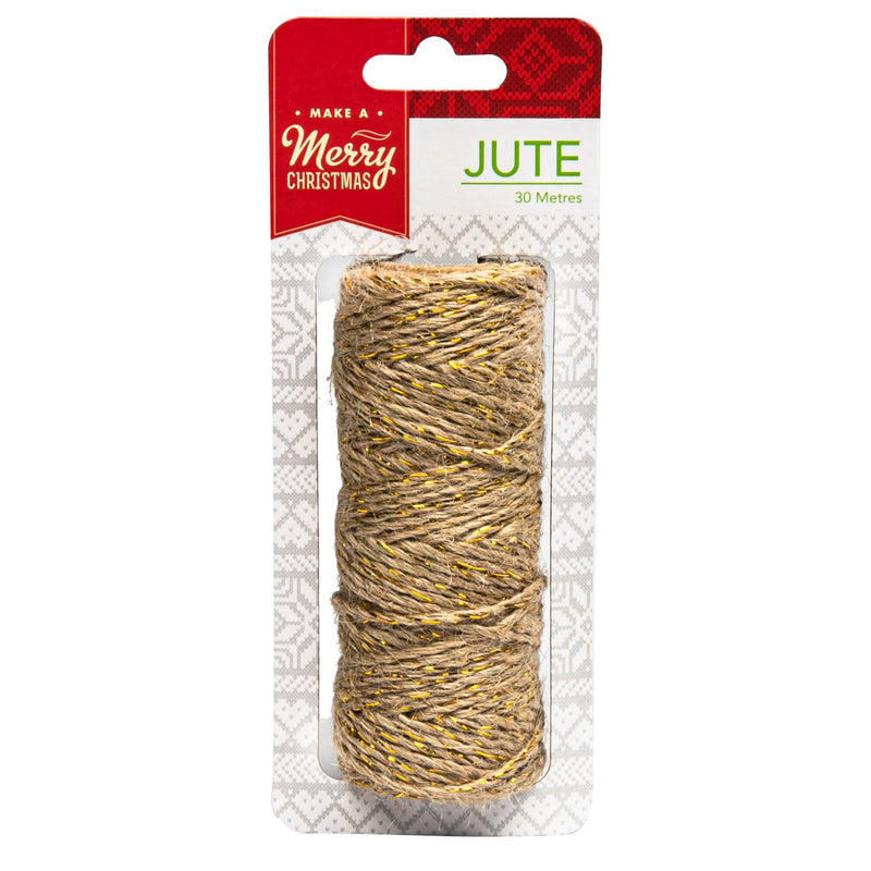 Sienna Make A Merry Christmas  Natural Jute Twine W/Gold Thread 30M Christmas