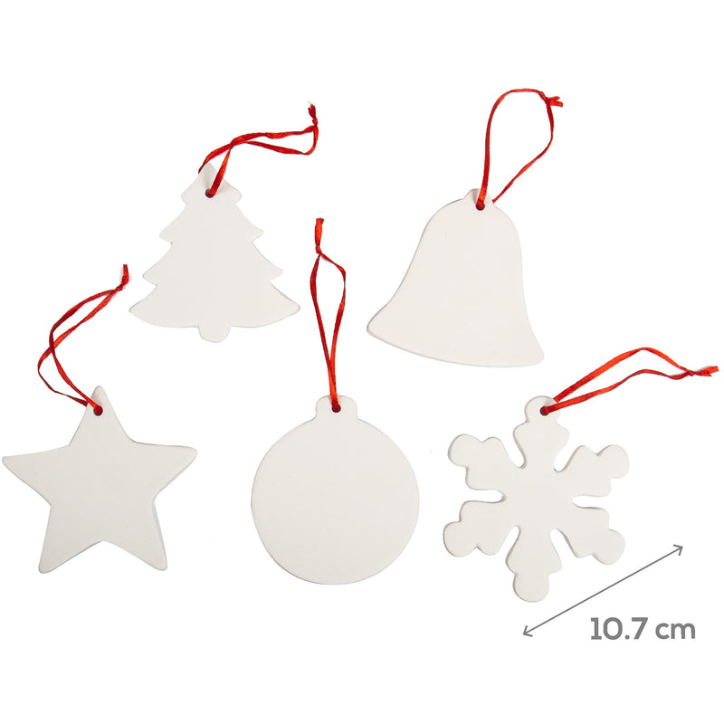 Beige Make A Merry Christmas Decorate Your Own Ceramic Ornaments 5 Pieces Christmas
