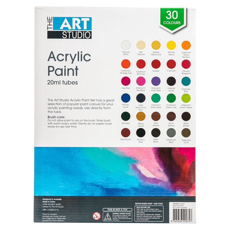 Dark Turquoise The Art Studio Acrylic 20ml Paint Set 30pc Acrylic