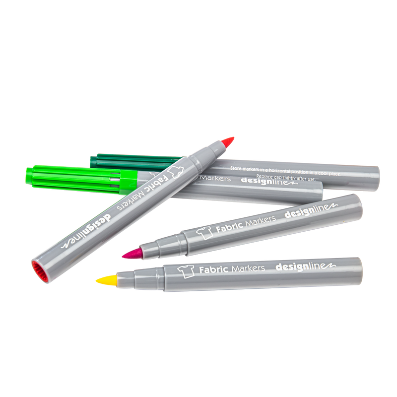 Gray Designline Fabric Markers Assorted Colours 12 Pieces Pens