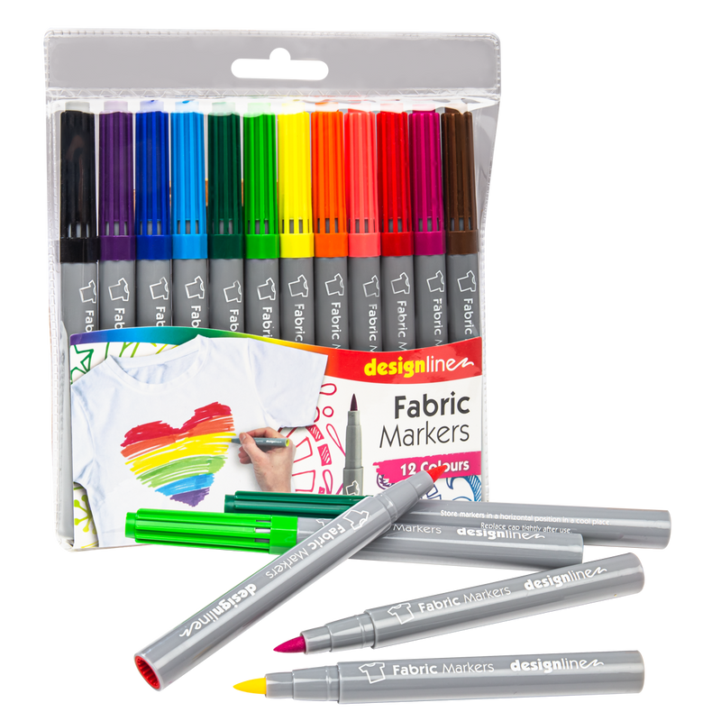 Red Designline Fabric Markers Assorted Colours 12 Pieces Pens